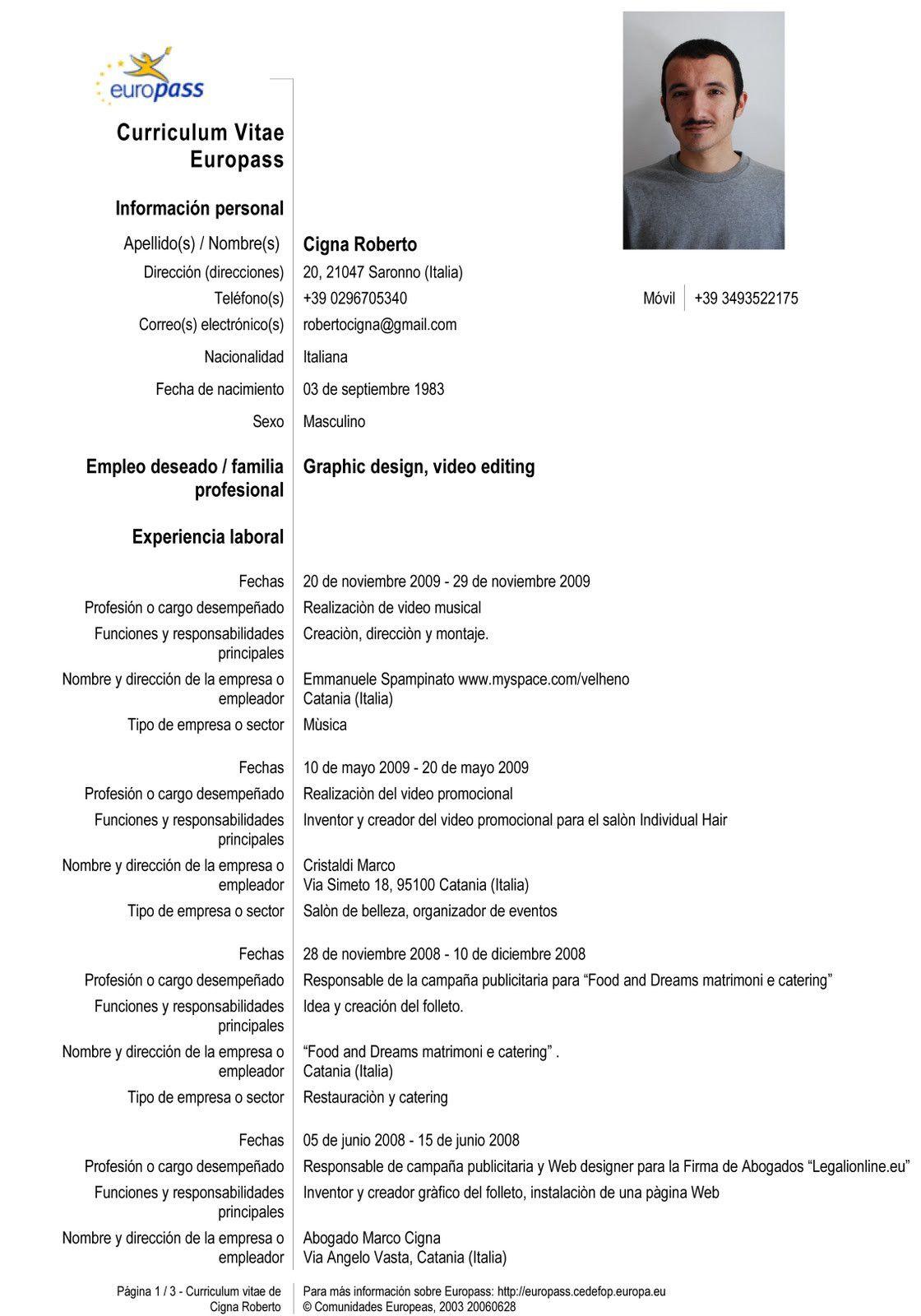Curriculum Vitae Ejemplos Espanol En 2020 Modelos De Curriculum