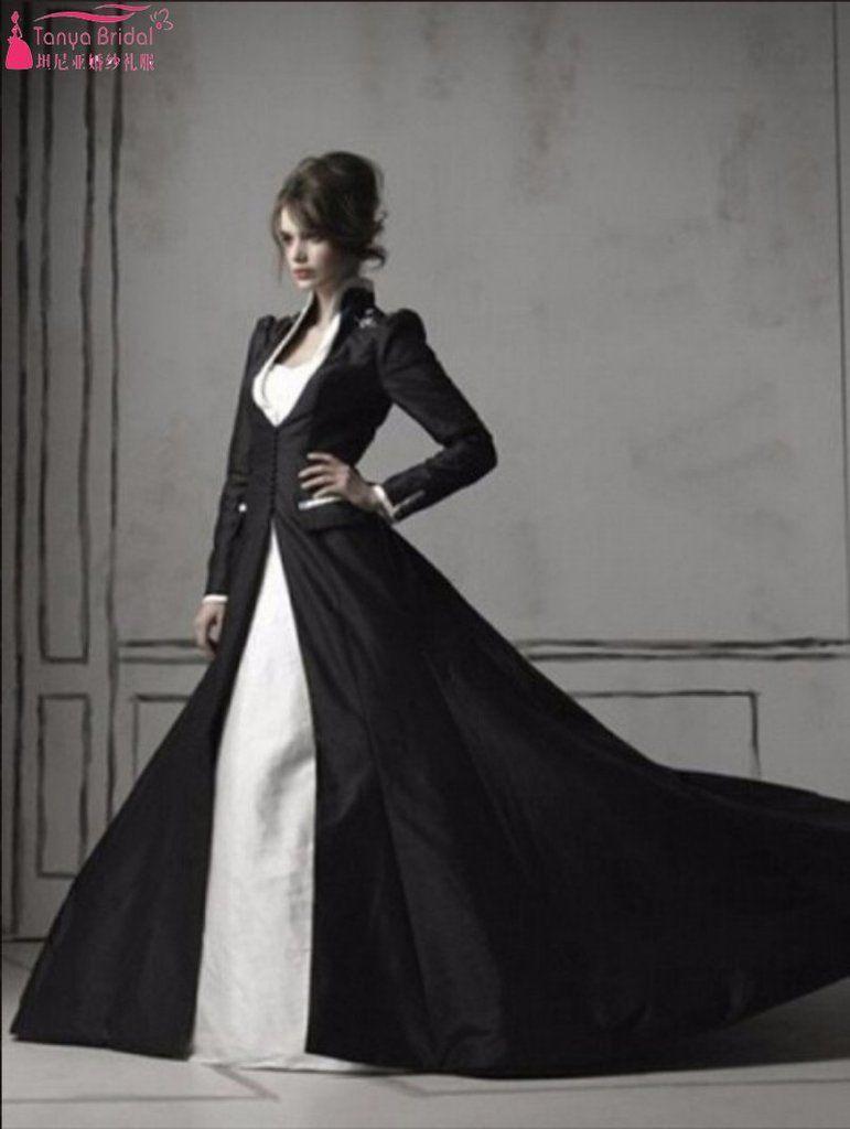 Long sleeve ivory wedding dress  Gothic Beaded White Ivory Wedding Dress with Long Sleeve Black Cape