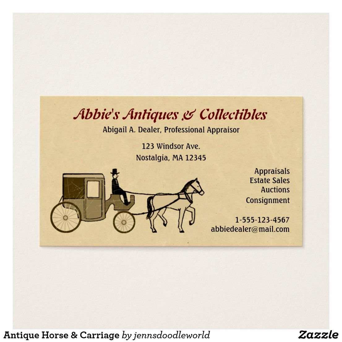 Antique Horse & Carriage Business Card   Pinterest   Business cards ...