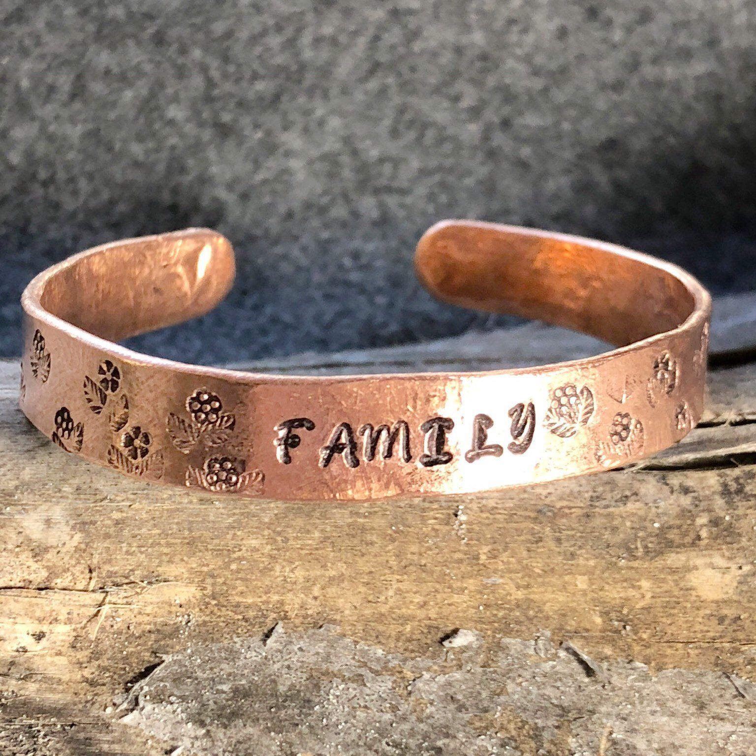 Engraved Copper Bracelet Gift For Her Flowers Personalized Womens Cuff Bangle Flower