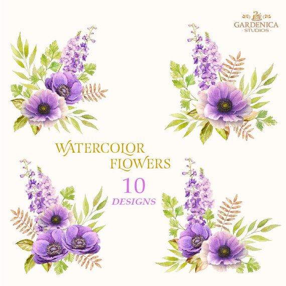 Watercolor Anemone Flowers Anemone Clipart Purple Flower Etsy In 2020 Digital Flowers Flower Clipart Purple Flowers