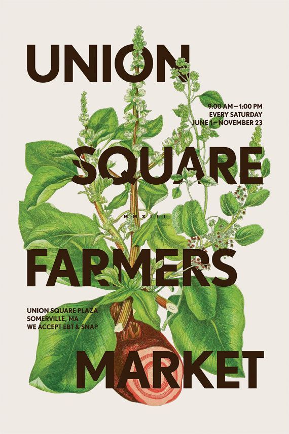 Union Square Farmers Market poster in 2020 | Graphic ...