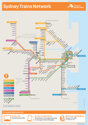 Sydney Trains Network Map | Train map, Metro map, Sydney map