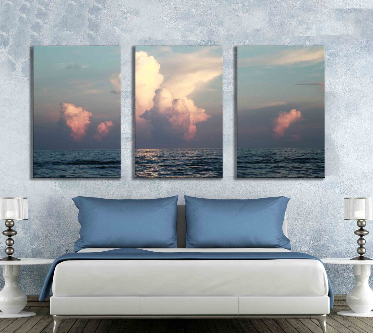 Large Three 16x24 Inch Or 12x18 Inch Canvas Print Sunrise Sunset Florida  Beach Ocean Home Decor