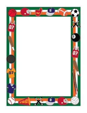 a0154ef62660 This sport border includes balls and other equipment for all kinds of sports  such as football
