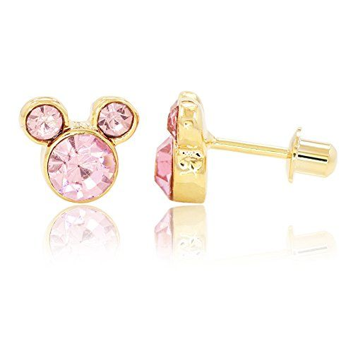 Little Mouse Pink Crystal CZ Earrings Gold Plated 14k ScrewBack Children Kids - Jewelry For Her