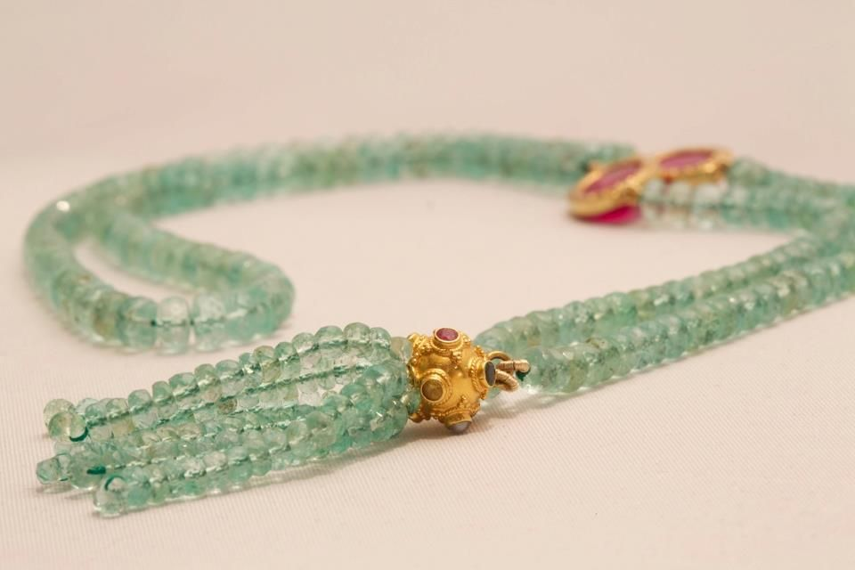 Jade Jagger Jewellery -  Fabulous Emerald Tassel Necklace with Rubies and Diamonds