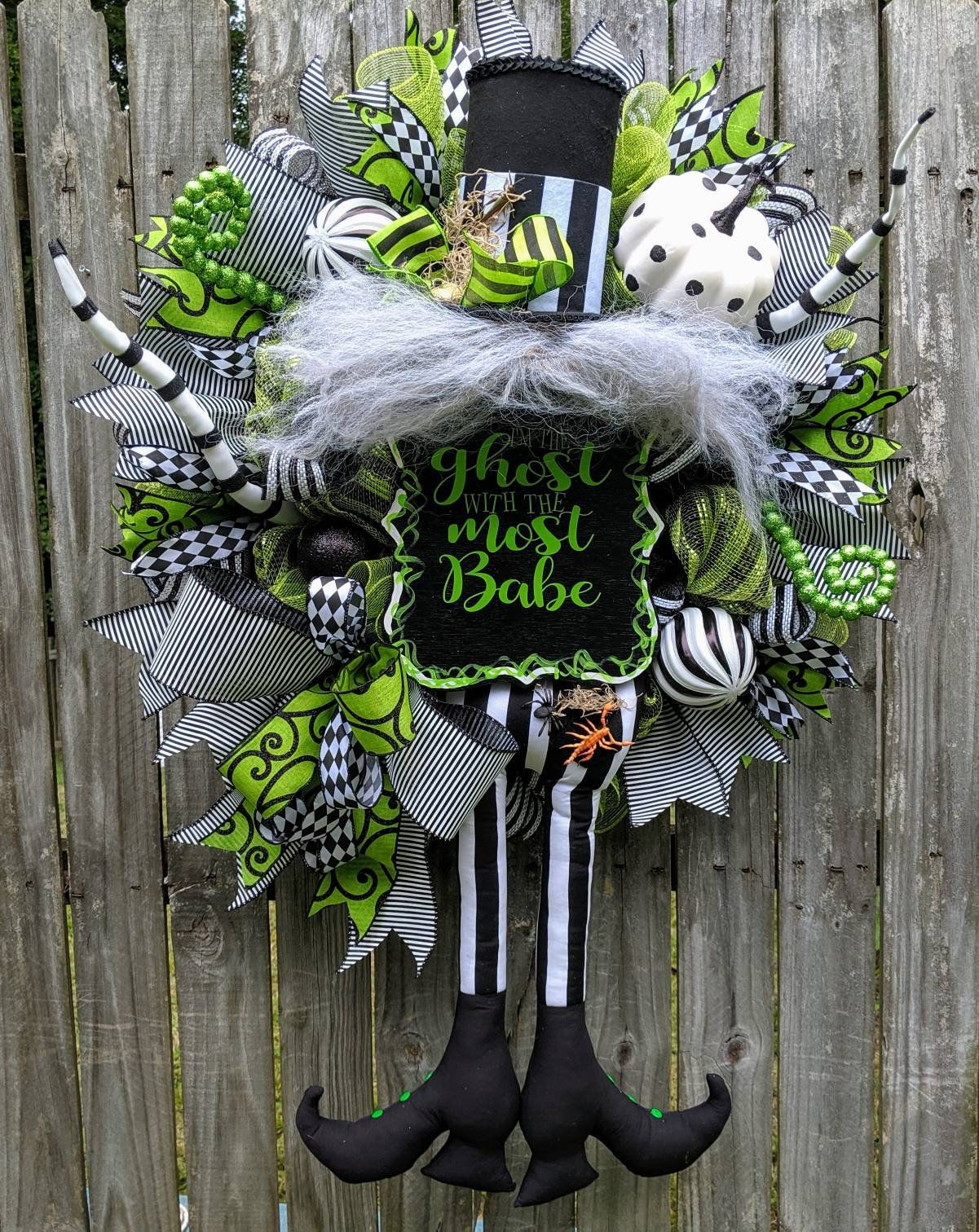 Beetlejuice Wreath, Halloween Wreath, Beetlejuice Decor