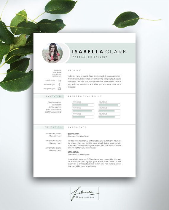 resume template 3 page    cv template   cover letter    instant download for ms word     u0026quot isabella