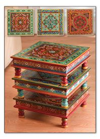 Handpainted Indian Stacking Tables