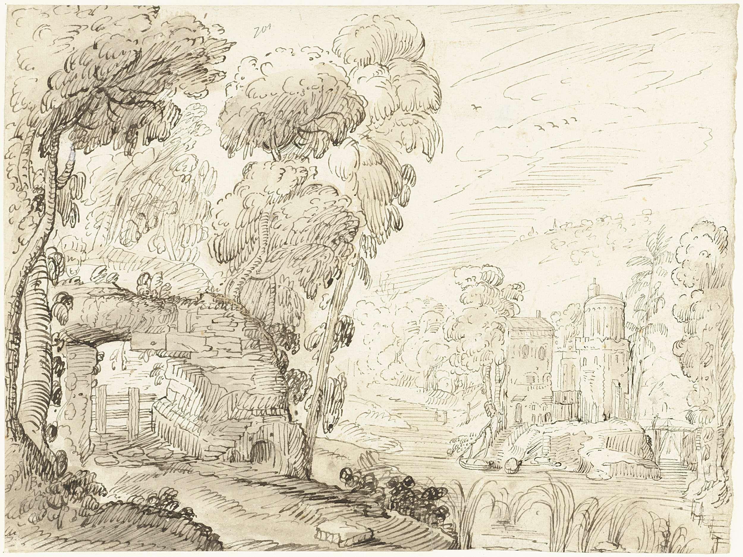 anoniem | Geïdealiseerd Italiaans landschap met een vervallen brug en een kasteel, possibly Gerard ter Borch (I), 1614 - 1616 |