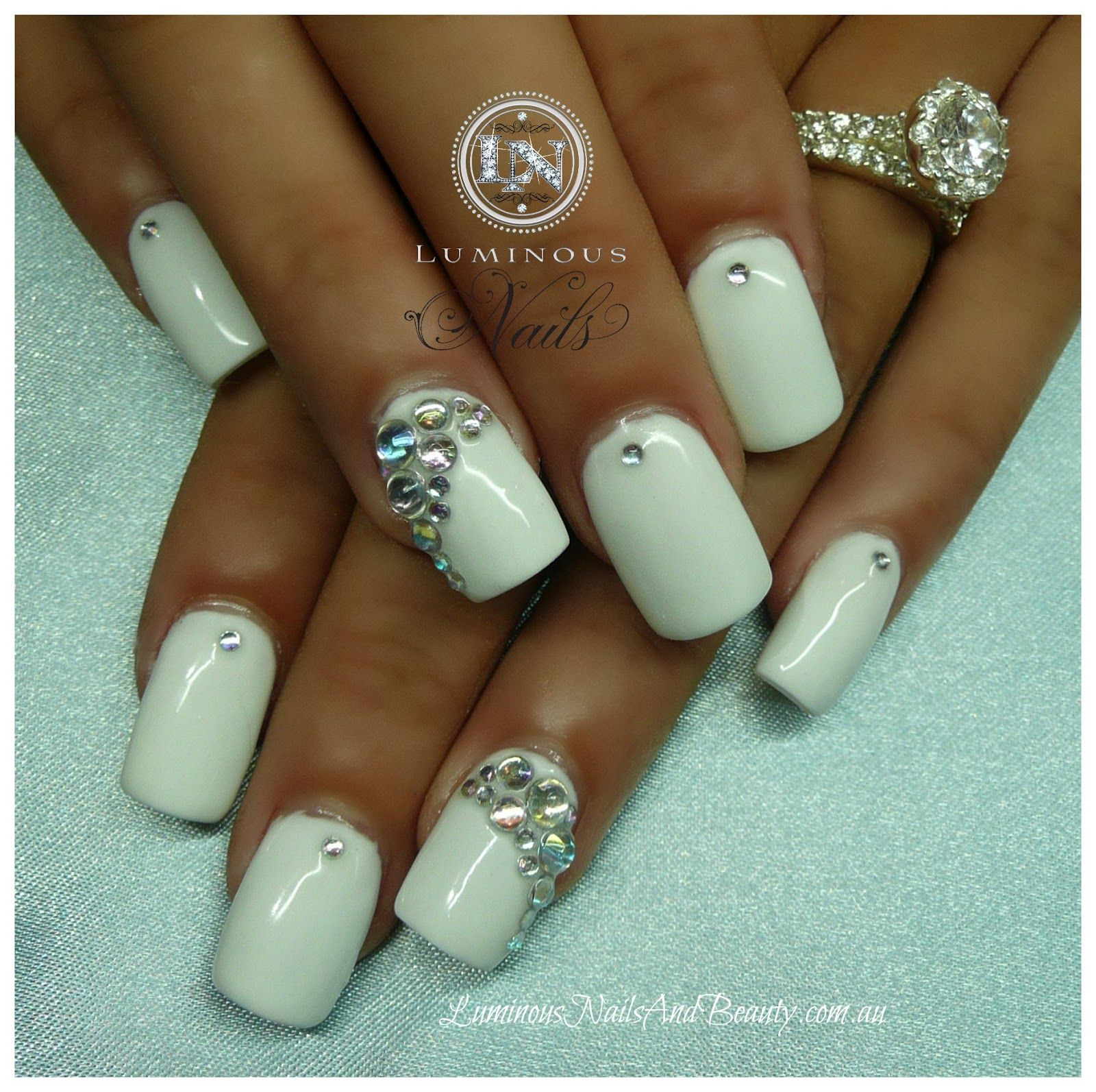 Acrylic Nails with Rhinestones | White Gel Nails with Crystals ...