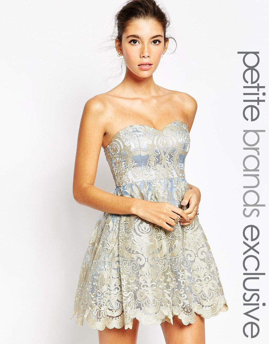 Image 1 of Chi Chi London Petite Embroidered Lace Bandeau Prom ...