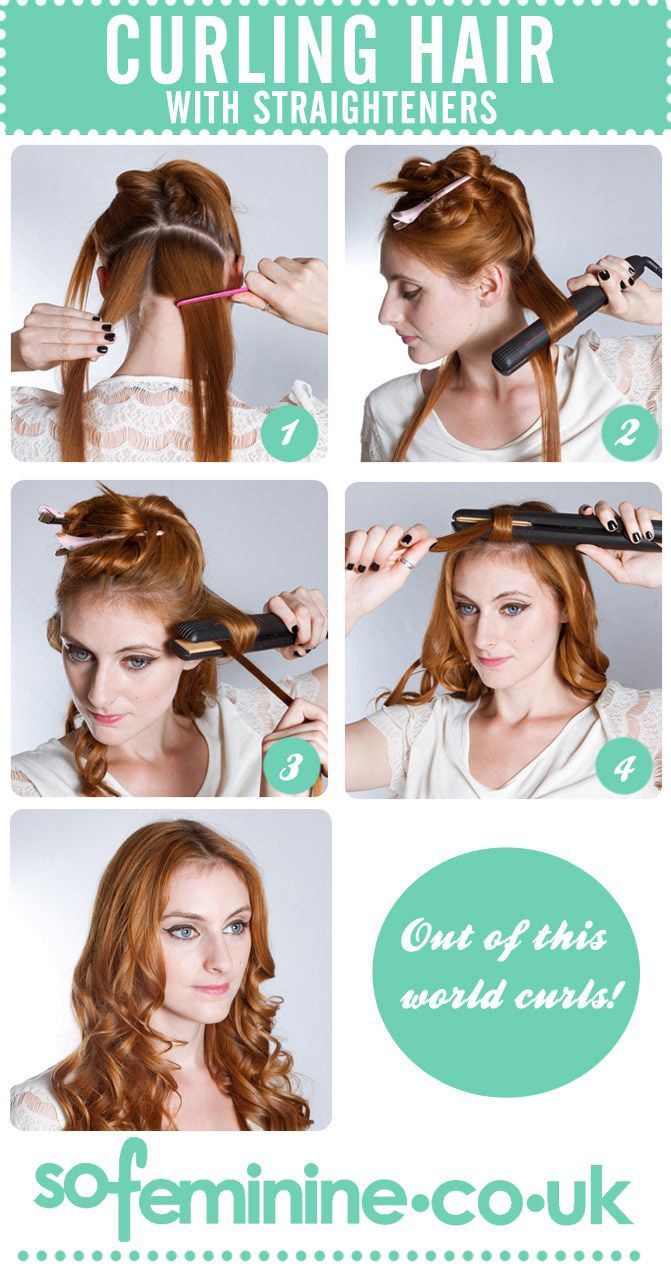 Curling Hair With Straighteners 1 Brush Hair And Divide Into Sections Depending On Thic Curl Hair With Straightener Curled Hairstyles Curls With Straightener