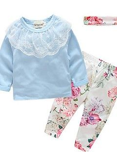 Girl's Casual/Daily Print Clothing SetCotton Spring / Fall Blue