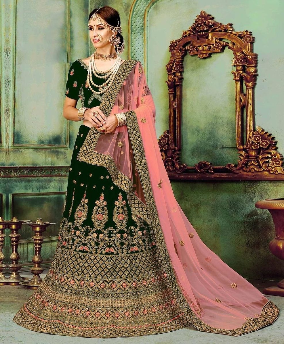 ab75416dda Buy Women's Velvet Semi-Stitched Lehenga Choli Online at Low prices in  India on Winsant, India fastest online shopping website. Shop Online for  Women's ...