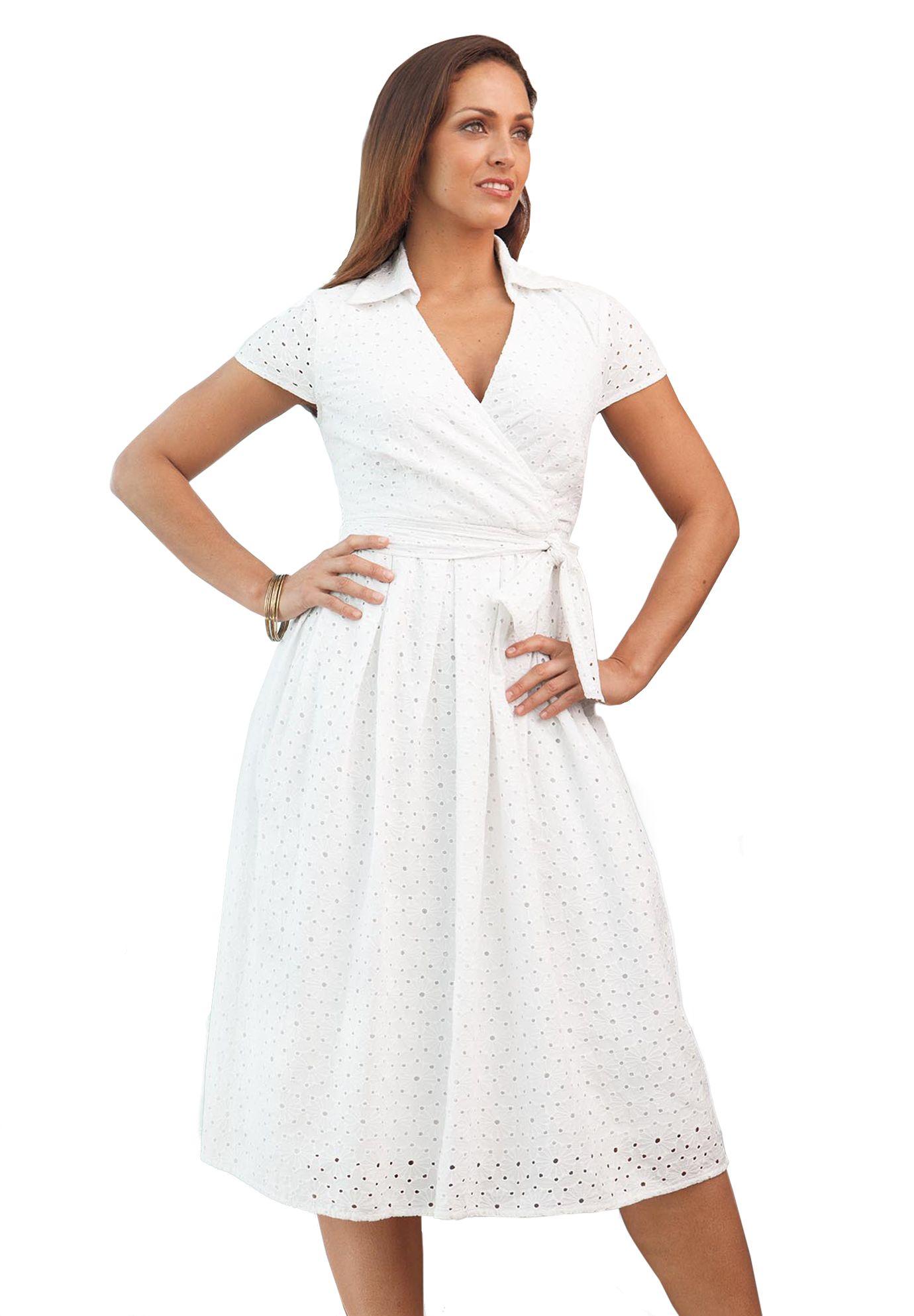 Cotton Eyelet Dress Plus Size Casual Dresses Jessica London