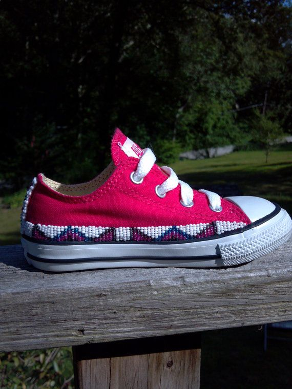 Native American Hand Beaded Toddler Converse Shoes By