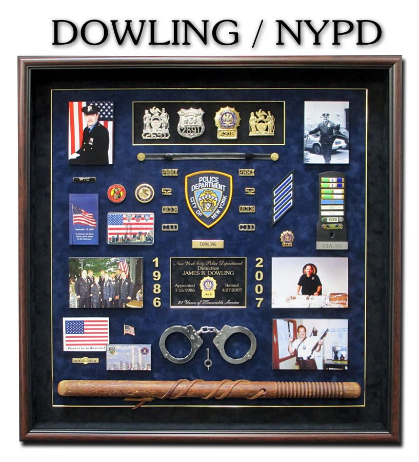 NYPD Police Shadowbox from Badge Frame | Shadow boxes