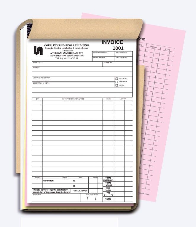Work Estimate Pad   Book - Design 1 NCR Invoice Pads   Books - duplicate order form