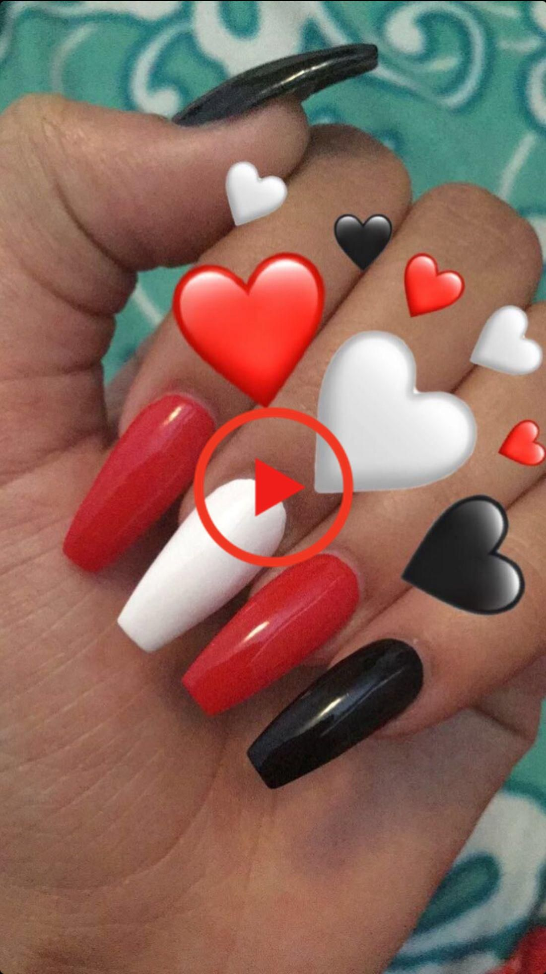 Red Black And White Coffin Acrylics Nails In 2020 White Acrylic Nails Red Nails Grunge Nails