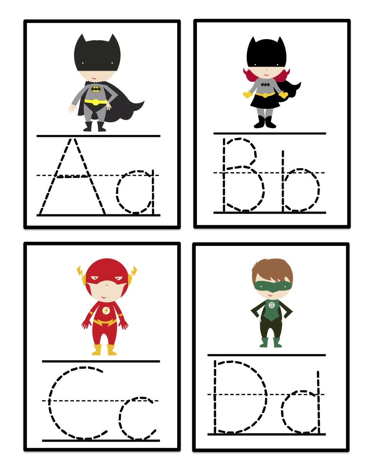 Super Hero Alphabet Tracing Cards