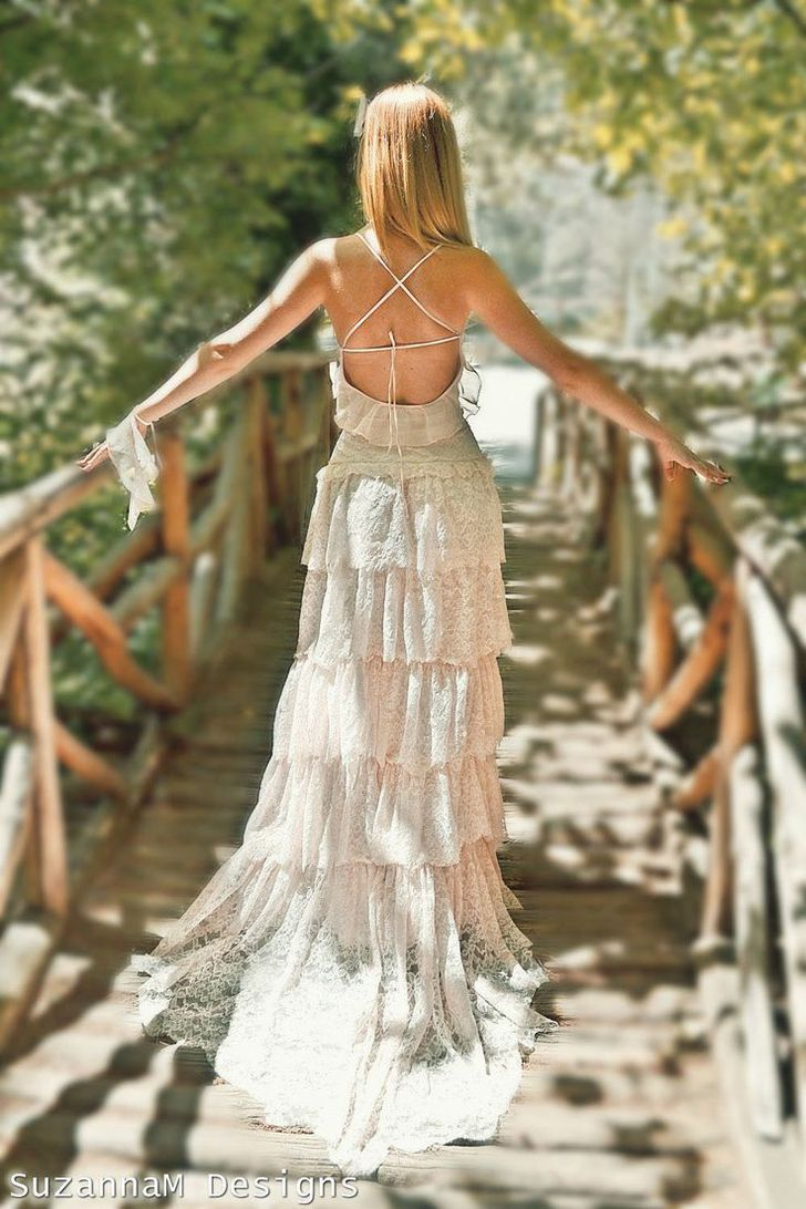 Cream dresses for weddings  so much yes Blush Pink Lace Bohemian Wedding Dress Bridal by