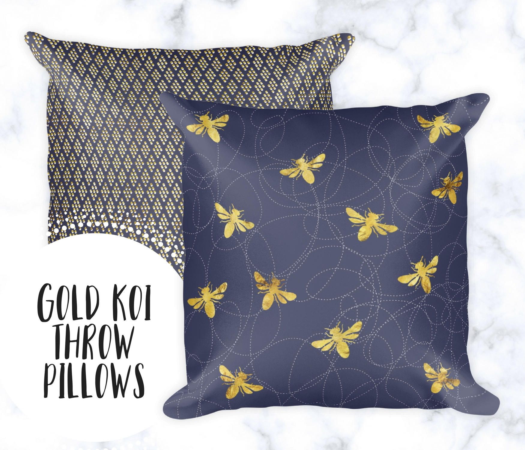 Busy Bee Throw Pillow | Pillow Cases | Gold U0026 Navy Home Decor | Polka Dot