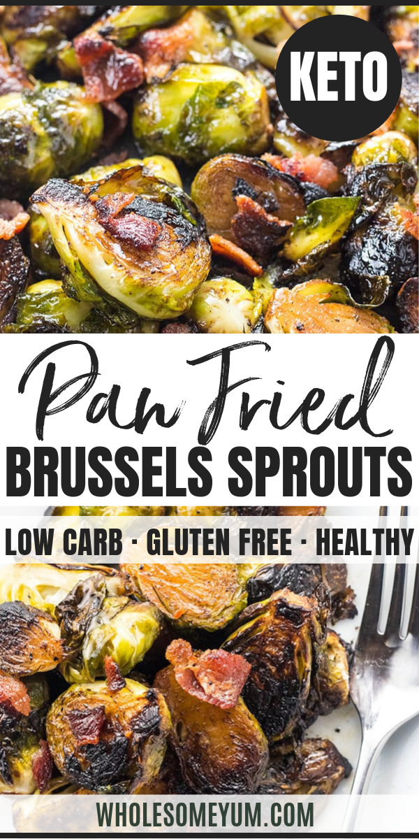 Crispy Pan Fried Brussel Sprouts Recipe with Bacon and Balsamic Vinegar #brusselsproutrecipes