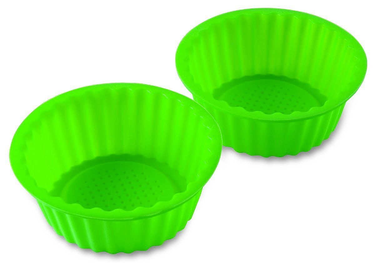 2 Pack 6green Color Silicone Baking Pan Ideal For Cake Muffin