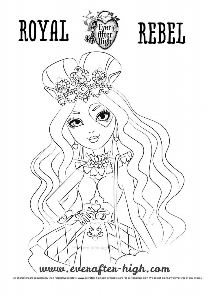 with lizzie hearts coloring page you can print out a drawing of the daughter of the queen of hearts to enjoy this girl who wears an outfit full of hearts - Ever After High Coloring Book