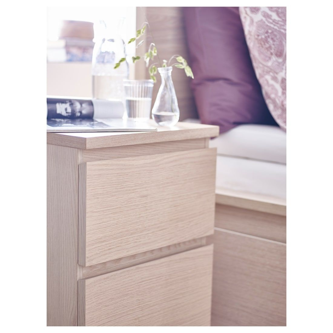 Malm 2 Drawer Chest White Stained Oak Veneer 15 3 4x21 5 8
