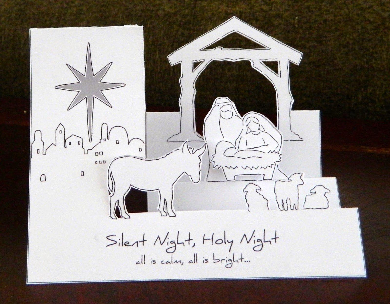 Laura S Frayed Knot Pop Up Nativity Christmas Card