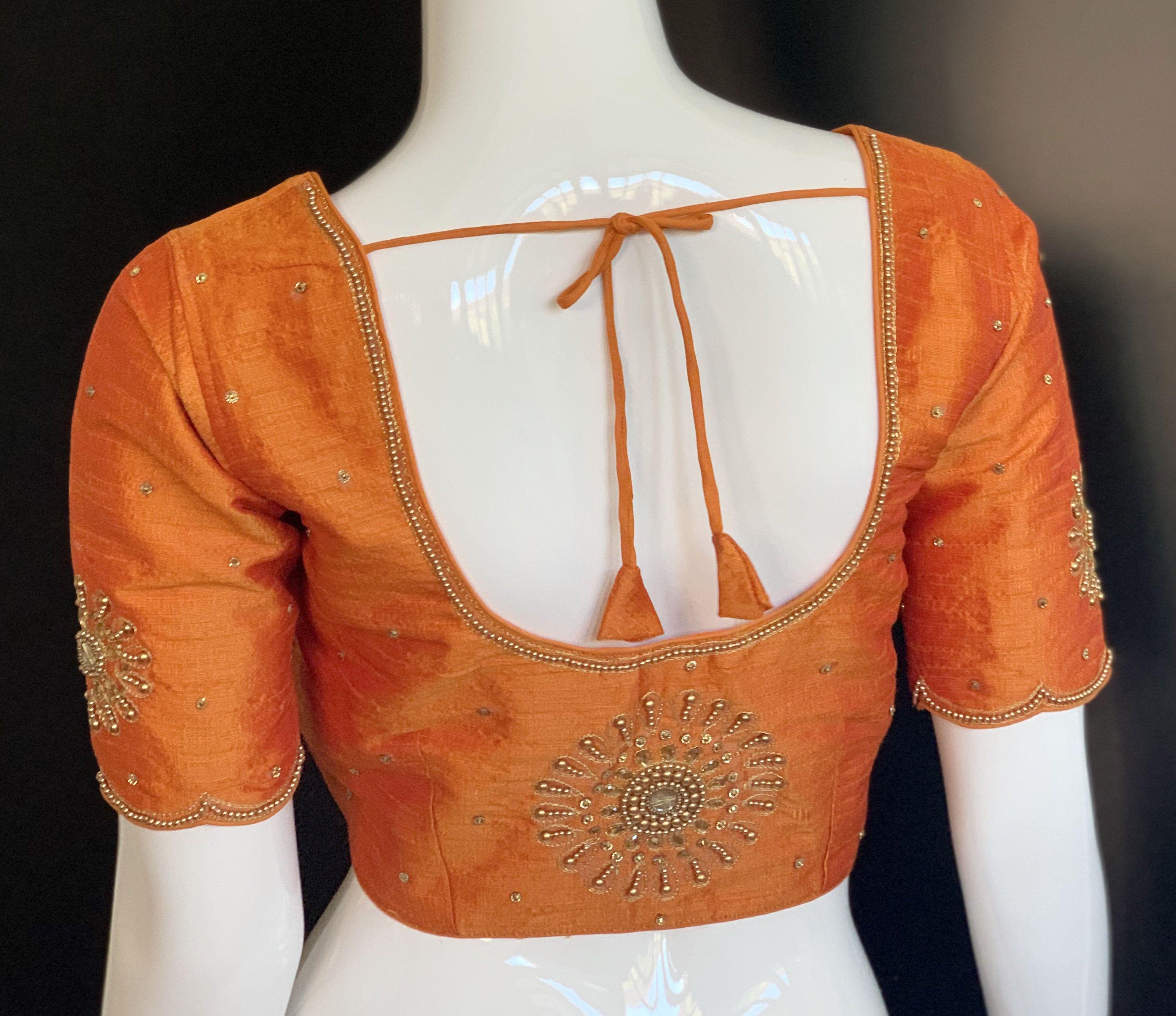 Designer Readymade Orange Party Wedding Wear New Art Silk Black Saree Stitched Blouse Crop Sari Top Mirror Work For Women