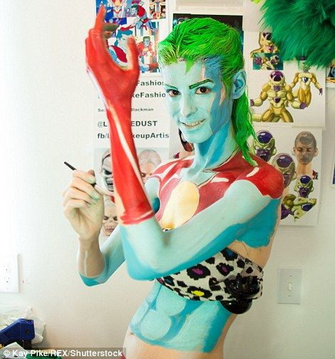 She is seen here transforming herself into Captain Planet from the hit US cartoon...