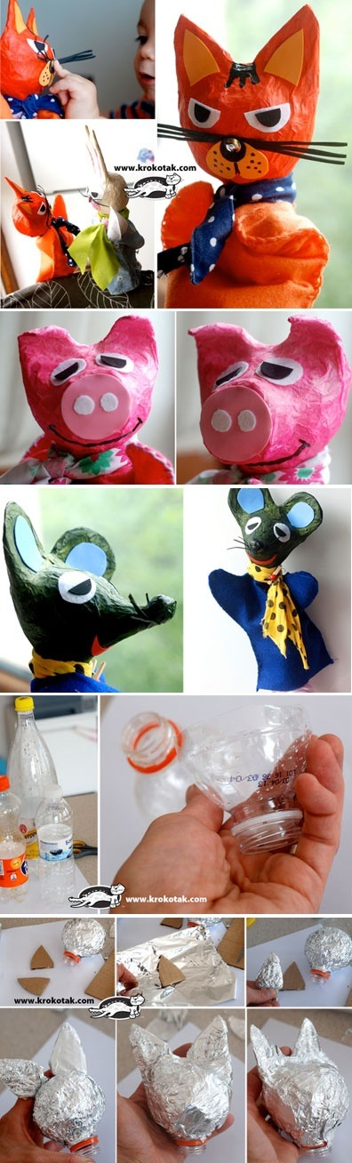 Recycle old plastic bottles into great puppets for hours of fun!