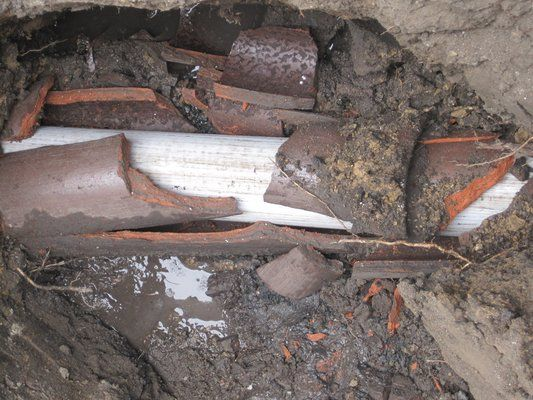 clay drainage pipe | sewer pipe pulled thru old clay sewer