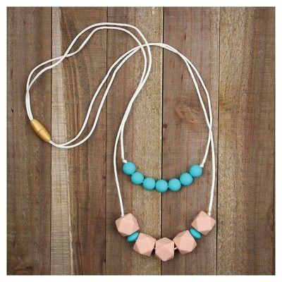 Bumkins Nixi Paloma Silicone Teether Necklace - Turquoise, Blue