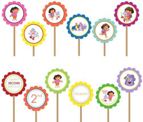 Dora The Explorer Printable DIY Custom Party Circle Cupcake - Dora birthday cake toppers