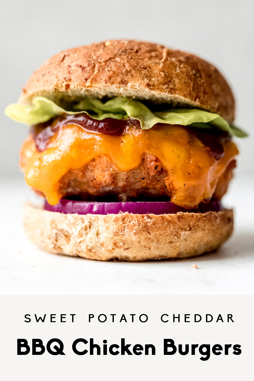 Sweet Potato Cheddar Bbq Chicken Burgers Ambitious Kitchen Recipe Chicken Burgers Chicken Burgers Recipe Low Sugar Bbq Sauce