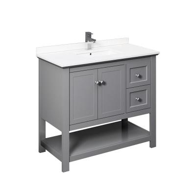 Fresca Manchester 40 In W Bathroom Vanity In Gray With Ceramic