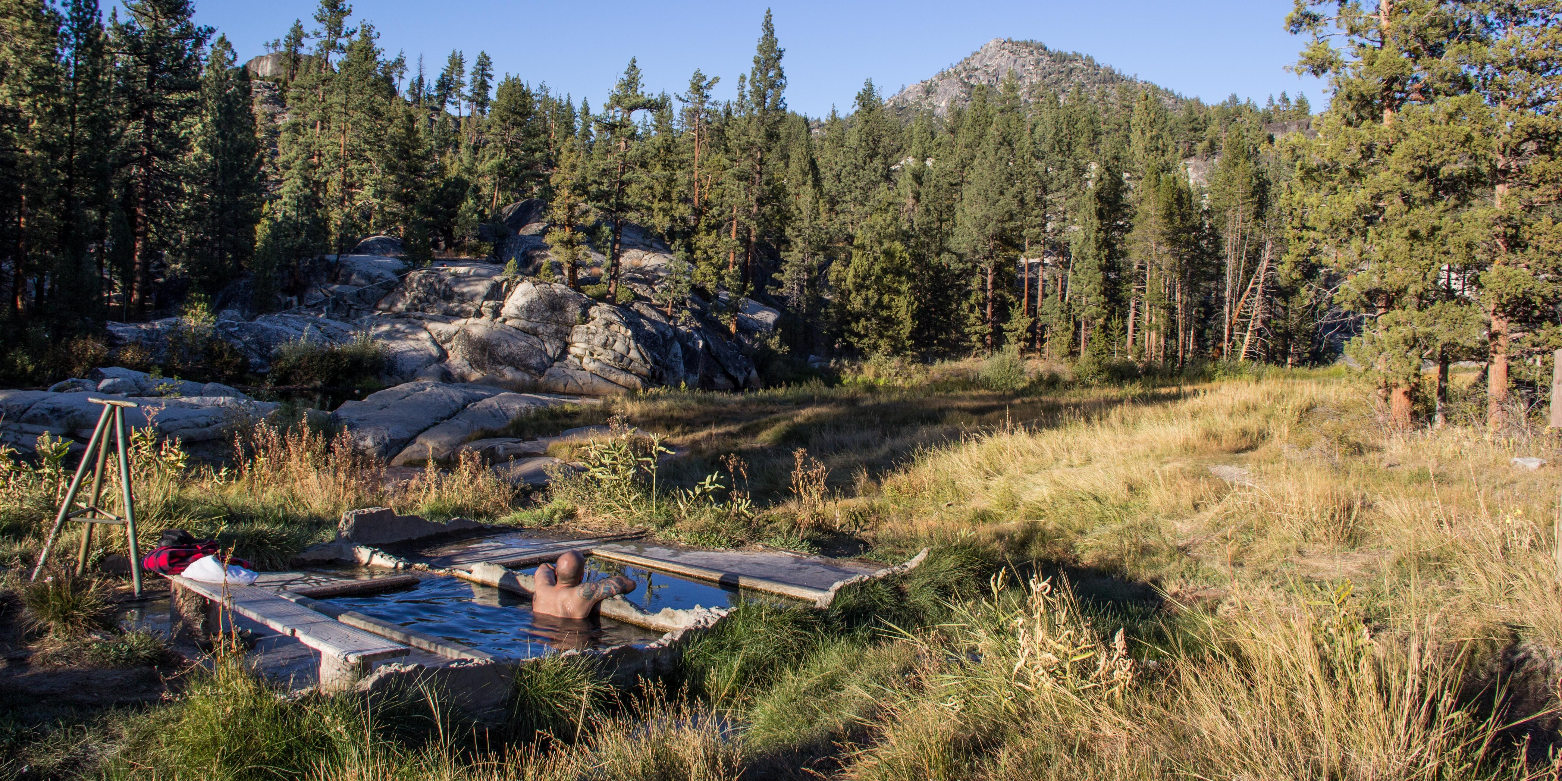 California is blessed to have its fair share of hot springs, many of which are found in and around the Sierra Nevada. The riverside pools of Mono Hot Springs are perhaps the most remote of these springs still accessible by car.