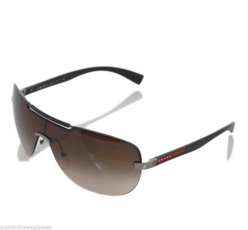 8904f1cf0c68 Prada Sport SPS52N 5AV6S1 Mens Wrap Rimless Brown Shield Sunglasses #PRADA  #Wrap