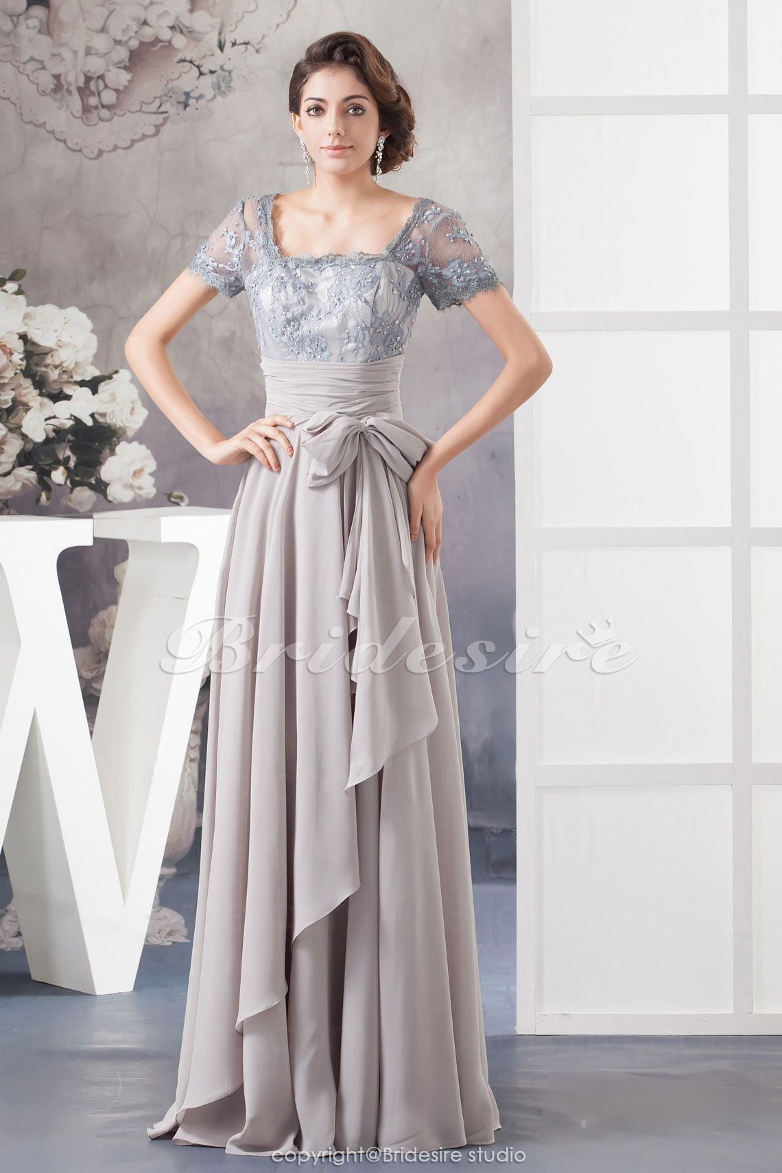 Dresses to wear to a wedding as a guest in april  Bridesire  Aline Square Floorlength Short Sleeve Chiffon Lace