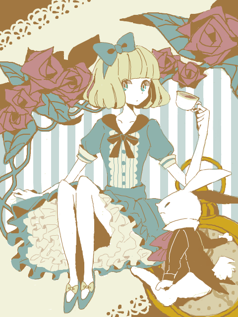 Alice In Wonderland And White Rabbit Sitting うさぎ イラスト