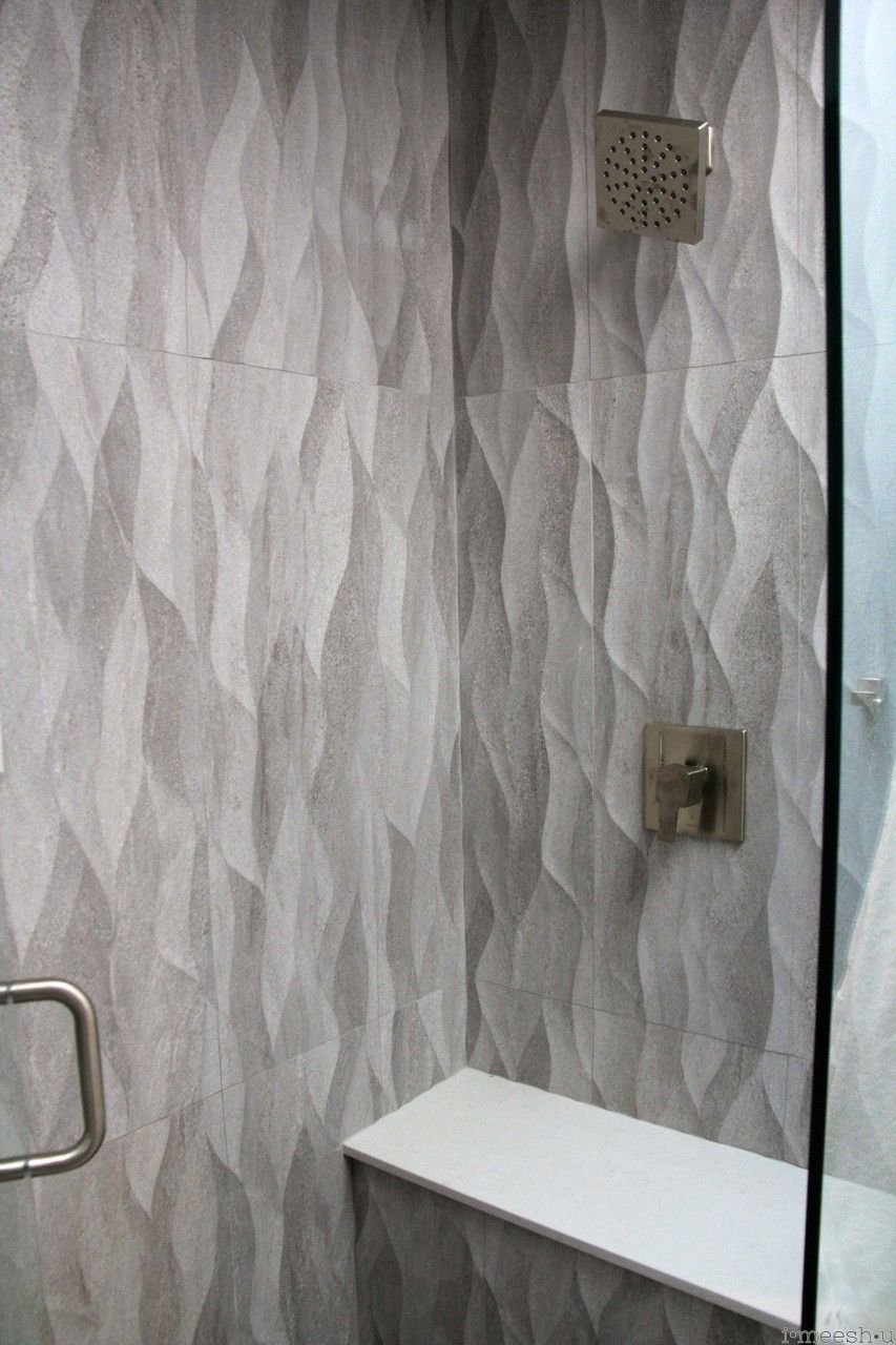large plank gray wave tile shower walls misty carrara cesarstone ...