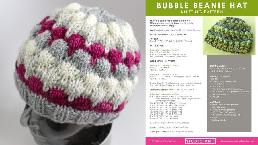 Bubble Stitch Beanie Hat Knitting Pattern by Studio Knit. | Knitting ...