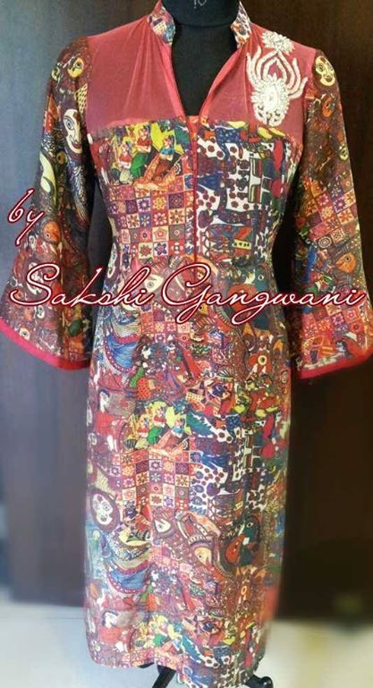 Madhubani Print Tunic With Stone Work Motif Print Tunic Cocktail Dress Formal Dresses