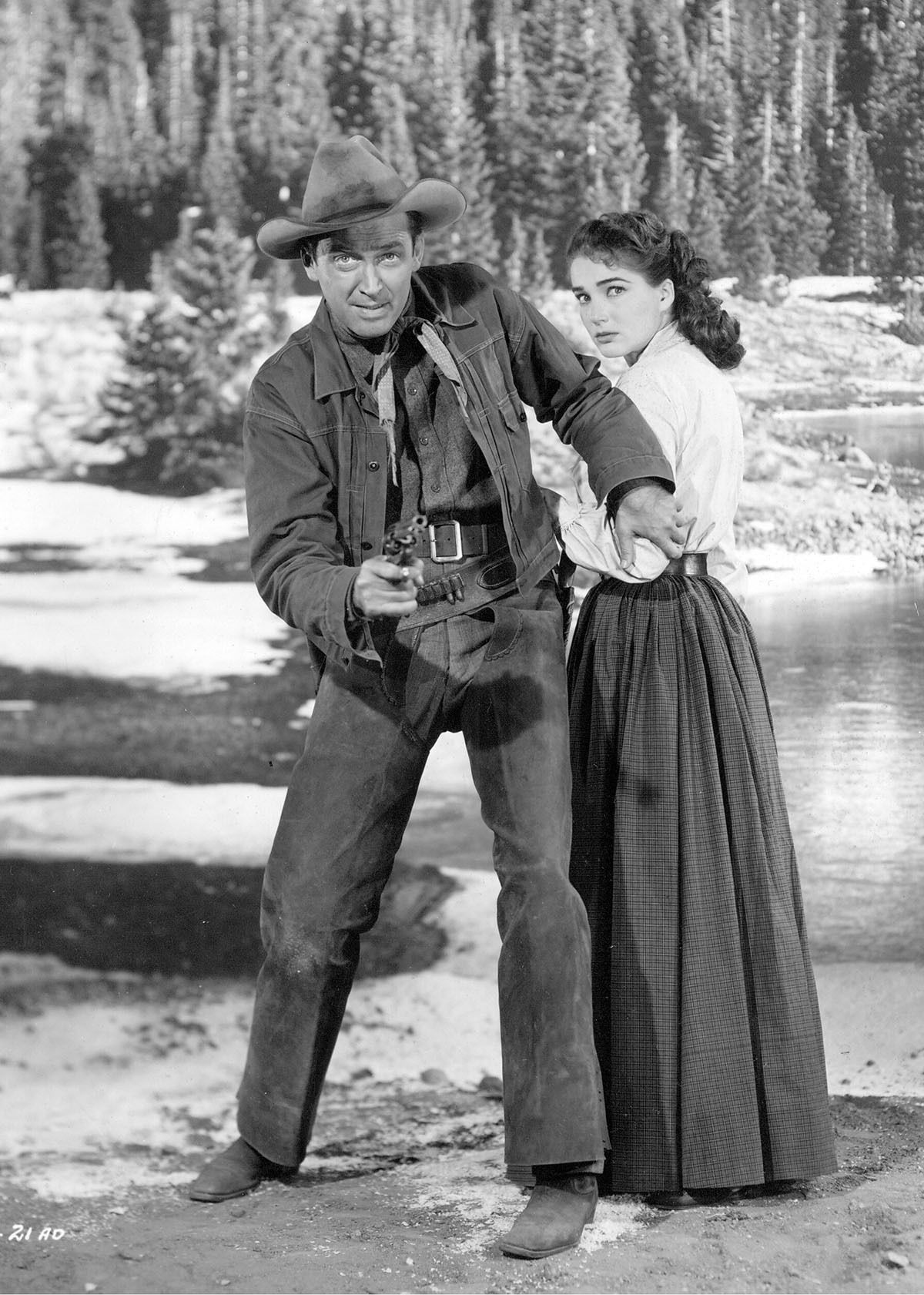 Jimmy Stewart and Julie Adams in BEND OF THE RIVER ('52