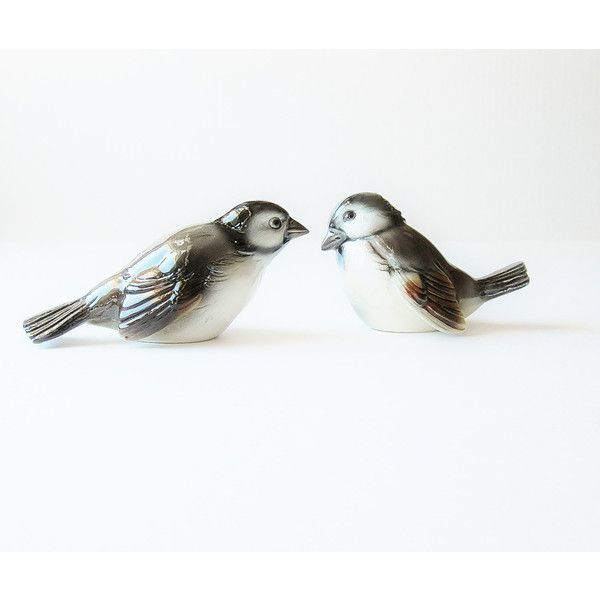 Vintage Sparrows Bird Figurines Goebel West Germany ($45) ❤ liked on Polyvore featuring home, home decor, jarmfarm, vintage figurines, goebel, goebel figurines, vintage home decor and bird figurines